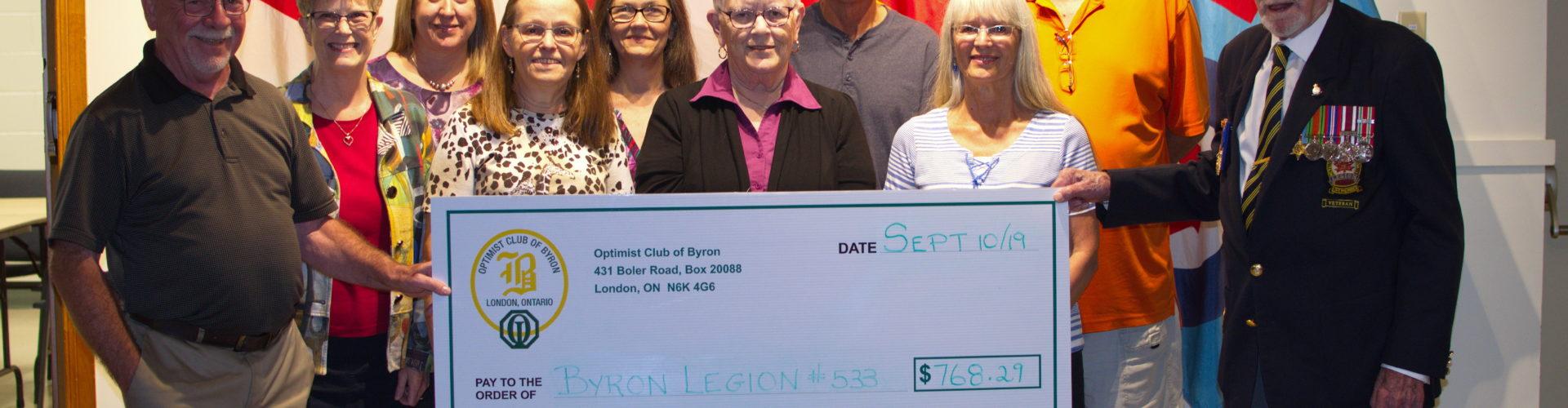 Optimist Club of Byron Donation